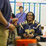 Joe Barksdale of the St Louis Rams at KIPP Inspire Academy