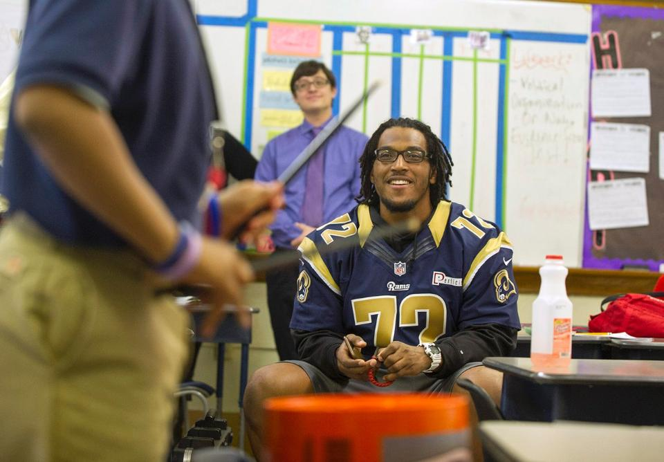 Joe Barksdale of the St Louis Rams at KIPP Inspire Academy